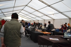 Inside the gaming tent