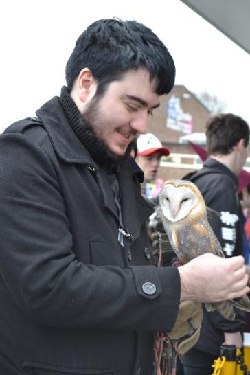 James looks very happy with his owl